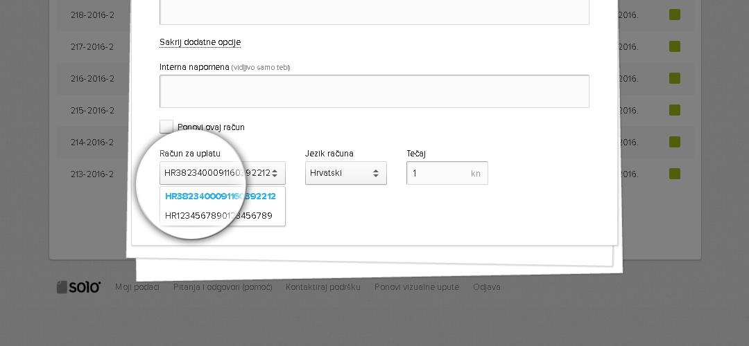 Biranje IBAN računa za uplatu